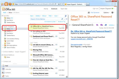 Office 365 Mail Folders Userfriendly Shared Mailboxes In Office 365 Microsoft