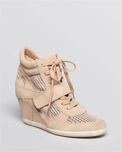 lace up wedge sneakers ash lace up high top wedge sneakers bowie mesh in beige