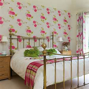 white bedroom with floral wallpaper decorating housetohome co uk