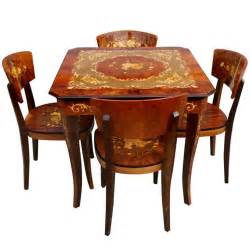 Game Table Chairs Italian Marquetry Games Table And Four Chairs At 1stdibs
