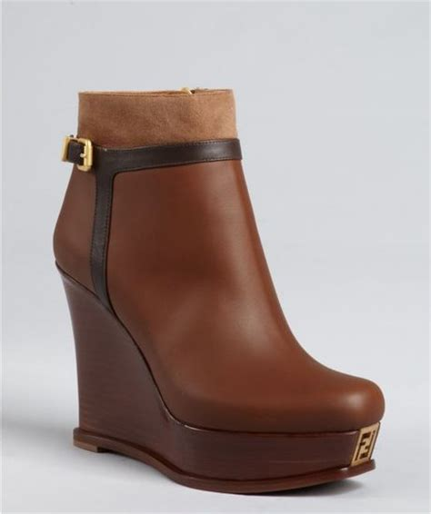 fendi chestnut and brown leather wedge ankle boots in