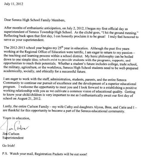 Introduction Letter High School seneca high school carlson introduction letter