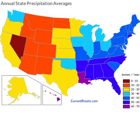usa map by year average annual precipitation by usa state current results