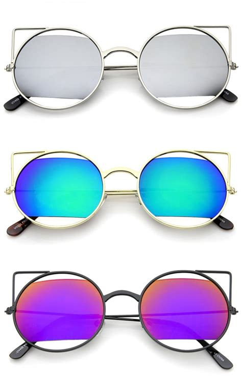 Cut Out Frame Cat Eye Sunglasses s cut out metal open frame mirrored lens cat