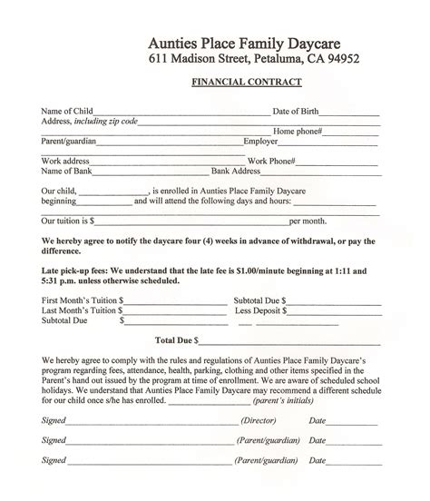 Our Forms For A Safe Day Care Family Owned Newborn Day Care In Petaluma Daycare Contract Templates Free