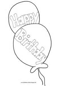 Happy Birthday Luftballons  Nadines Ausmalbilder sketch template