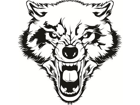 wolf 2 growling wild animal dog mascot tattoo logo svg eps