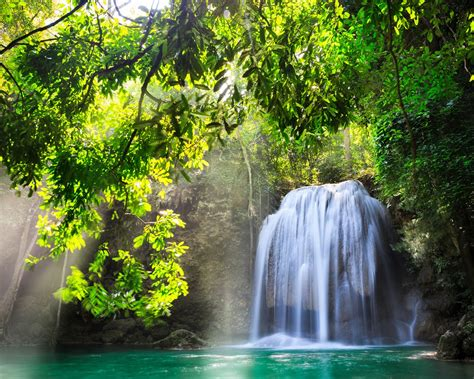 wallpaper kanchanaburi thailand waterfall nature