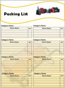 Packing List Template Pics Photos Packing List Template Word