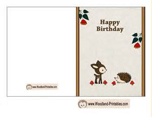 free printable woodland birthday cards