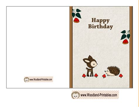 printable happy birthday cards free printable woodland birthday cards