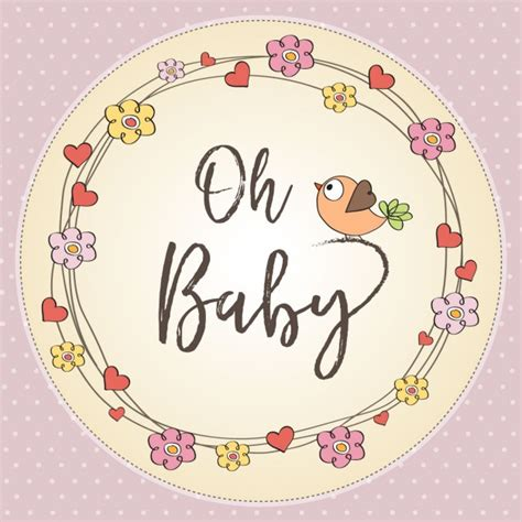 Baby Shower For by Card With Flowers For Baby Shower Vector Free