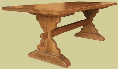 Wood Dinner Table Trestle Table Bespole Handmade Solid Oak Medieval