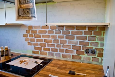 faux brick kitchen backsplash remodelaholic tiny kitchen renovation with faux painted brick backsplash