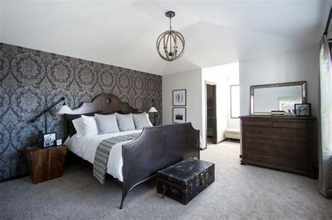 master suite features traditional white damask master bedroom feature wall traditional bedroom