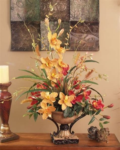 decorative floral arrangements home silk arrangements for home decor marceladick com