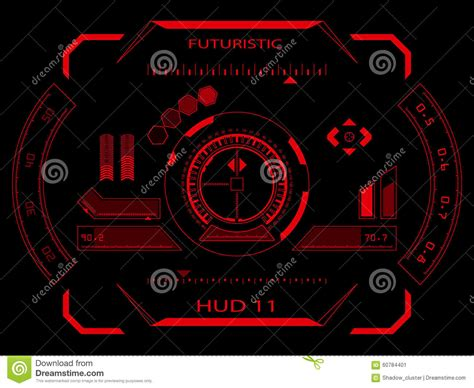 Create Future Reds futuristic touch screen user interface hud stock illustration image 60784401