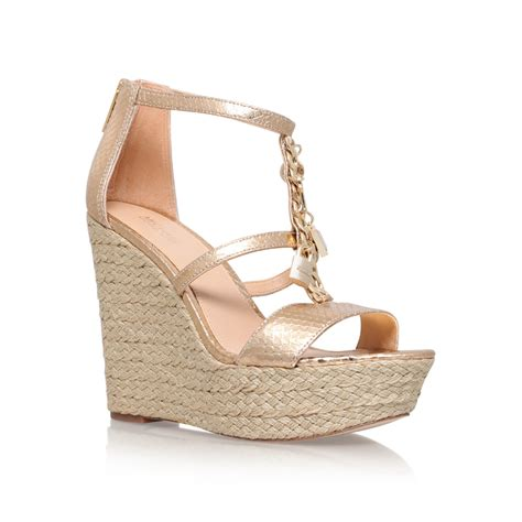 Wedges Gold suki wedge gold mid heel wedge sandals by michael michael