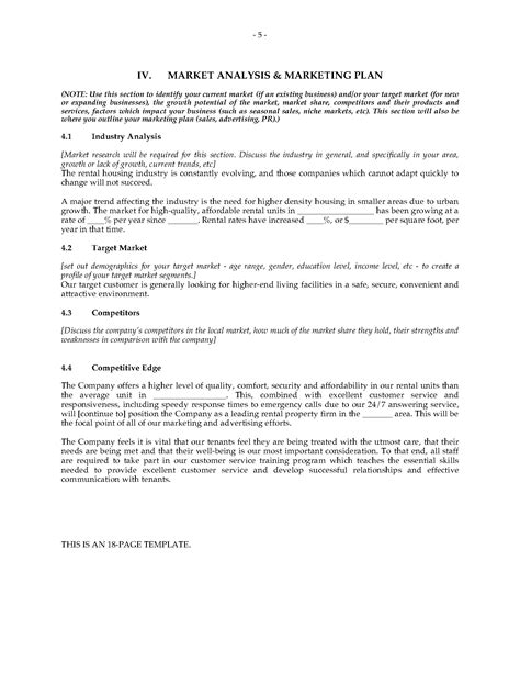 property management company business plan legal forms