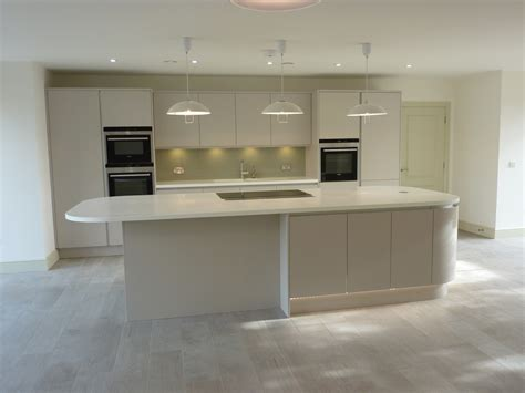 Square Island Kitchen elegant matte cashmere handless ashwell contracts ltd