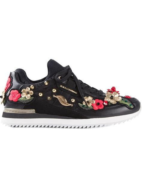 dolce gabana sneakers dolce gabbana floral embellished leather sneakers in