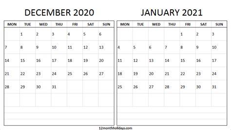 printable december  january  calendar monday start