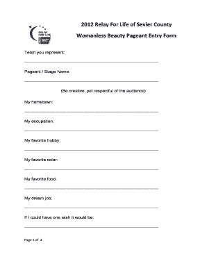 Beauty Pageant Form Sle Fill Online Printable Fillable Blank Pdffiller Pageant Registration Form Template