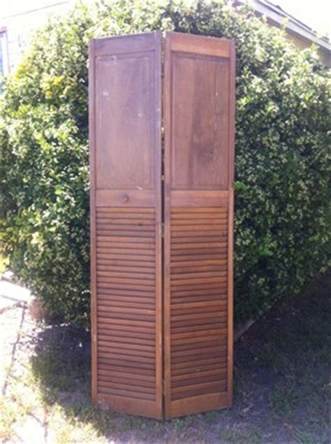 Wooden Louvered Closet Doors Vintage Wooden Wood Louvered Sliding Shutter Louver Closet Doors Screen Ebay
