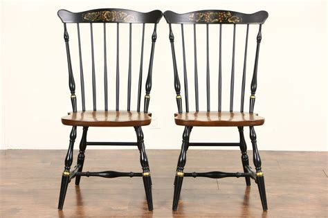 Maple Dining Chairs Set Of 6 Signed Hitchcock Vintage Stenciled Maple Dining Chairs Ebay