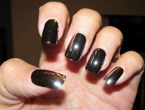black chrome nail polish acrylic nails pinterest