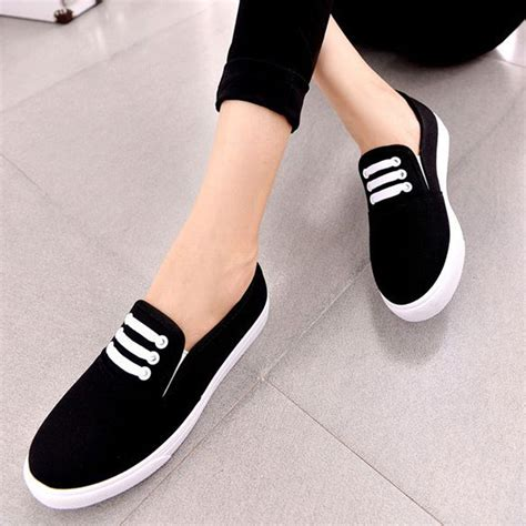 2016 simple style slip on soft canvas shoes pink 36