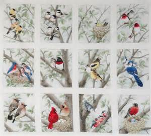 Bird Quilting Fabric 12 block fabric panel beautiful bird quilt squares