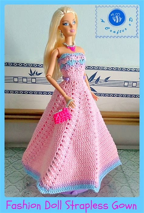 fashion doll free crochet patterns galore fashion doll strapless gown