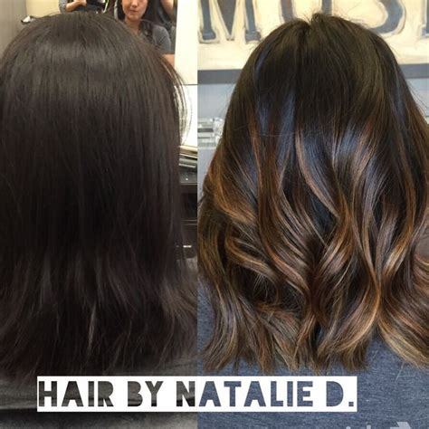 before and after ombre balayage on dark brown color treated hair dark hair before and after balayage balayage highlights