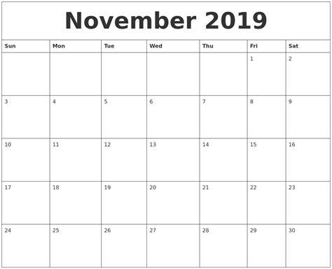 november printable monthly calendar