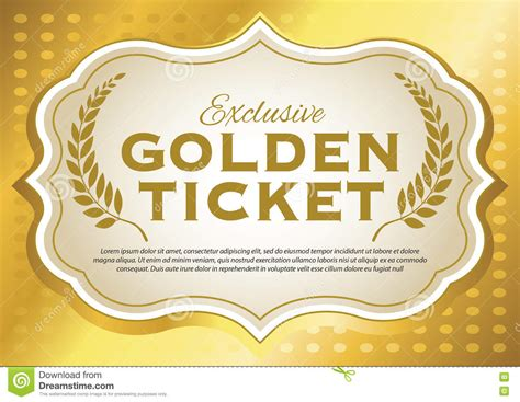 Golden Ticket Stock Vector Illustration Of Metallic 77593556 Free Golden Ticket Template Editable