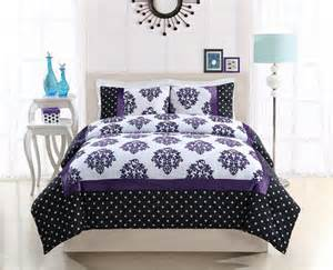 Purple polka dot and damask bedding black and purple bedding purple