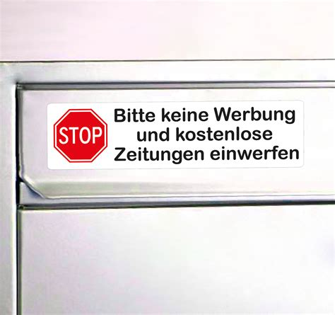 Aufkleber Keine Unadressierte Werbung by Aufkleber Keine Werbung Mit Stop Schild In Rot