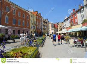Mediterranean Homes Plans Pedestrian Street In Rovinj Croatia Editorial Photo