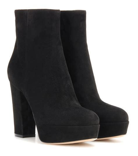 gianvito suede platform ankle boots in black lyst