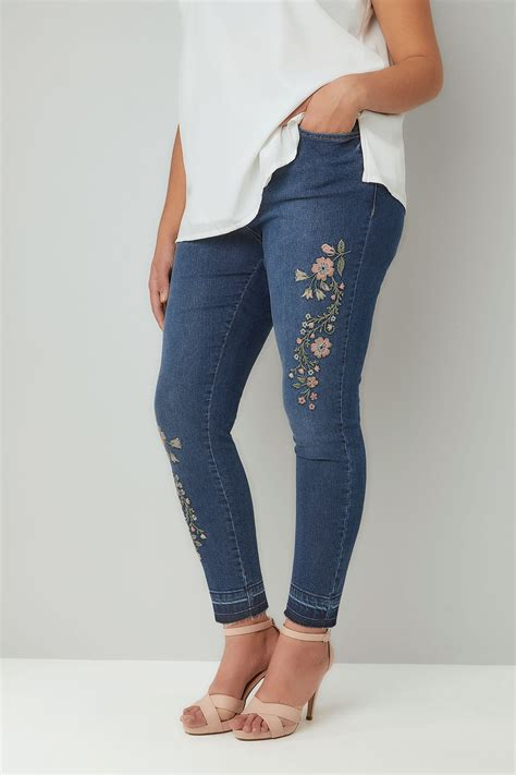 Small And Imperfectly Formed Trousers by Blue Washed Denim Embroidered With