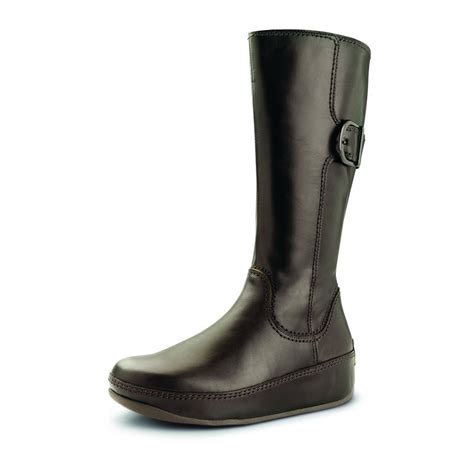 fitflop hooper brown leather knee high boots mozimo