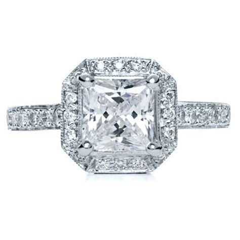 princess cut with halo engagement ring 169