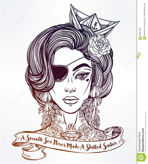 tattoo girl vector female pirate sailor vector girl with a quote stock