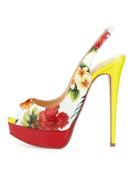 Hibiscus Print Slingback Sandals By Scorah Pattullo by Christian Louboutin Hawaiian Print Slingback Sole