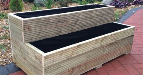 Wooden Step Planter by Details About Large Wooden Garden Step Planter Trough Two
