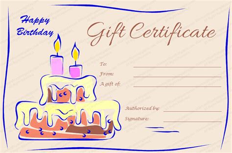 printable gift certificates birthday candles and cake birthday gift certificate template