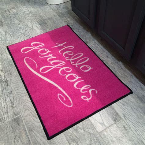 Hello Floor Mat by Hello Gorgeous Pink Door Mat Floormatshop