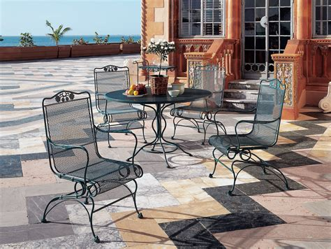 Furniture Art Stone Outdoor Top Table With Black Iron Wrought Iron Patio Dining Set