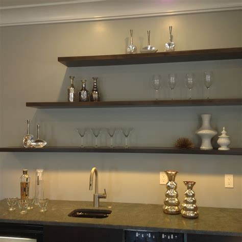 floating shelves bar area